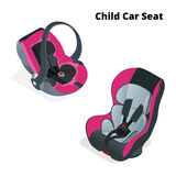 Safety Car seat for baby and kid, isolated on white background. Flat 3d vector isometric illustration. Car seat 3 in 1 stock illustration