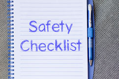 Safety checklist write on notebook Stock Photography