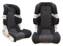 Safety child car seat. Two view angles of safety child car seat isolated on white background Stock Photos