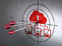 Safety concept: arrows in Cloud Network target on Royalty Free Stock Photo