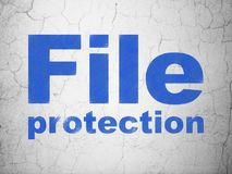 Safety concept: File Protection on wall background. Safety concept: Blue File Protection on textured concrete wall background Stock Image