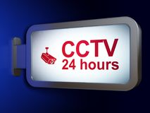 Safety concept: CCTV 24 hours and Cctv Camera on billboard background. Safety concept: CCTV 24 hours and Cctv Camera on advertising billboard background, 3D Stock Photo