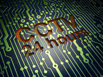 Safety concept: CCTV 24 hours on circuit board background Royalty Free Stock Photography