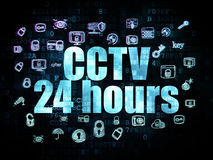 Safety concept: CCTV 24 hours on Digital. Safety concept: Pixelated blue text CCTV 24 hours on Digital background with  Hand Drawn Security Icons, 3d render Stock Photos
