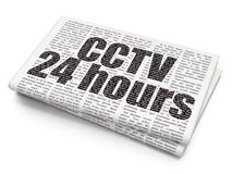 Safety concept: CCTV 24 hours on Newspaper background. Safety concept: Pixelated black text CCTV 24 hours on Newspaper background, 3D rendering Royalty Free Stock Image