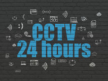 Safety concept: CCTV 24 hours on wall background Stock Photography