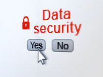 Safety concept: Closed Padlock icon and Data. Safety concept: buttons yes and no with pixelated Closed Padlock icon, word Data Security and Arrow cursor on Stock Photography