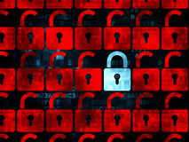 Safety concept: closed padlock icon on Digital. Safety concept: rows of Pixelated red opened padlock icons around blue closed padlock icon on Digital background Stock Image
