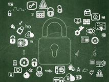 Safety concept: Closed Padlock on School Board Royalty Free Stock Image