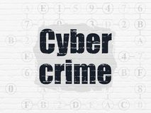 Safety concept: Cyber Crime on wall background. Safety concept: Painted black text Cyber Crime on White Brick wall background with Scheme Of Hexadecimal Code Stock Photo