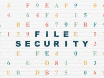 Safety concept: File Security on wall background. Safety concept: Painted blue text File Security on White Brick wall background with Hexadecimal Code Royalty Free Stock Image