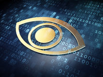 Safety concept: Golden Eye on digital background Royalty Free Stock Images