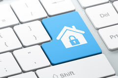 Safety concept: Home on computer keyboard background. Safety concept: Enter button with Home on computer keyboard background, 3d render Stock Photos
