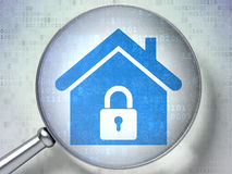 Safety concept:  Home with optical glass on digital background. Safety concept: magnifying optical glass with Home icon on digital background, 3d render Stock Photo