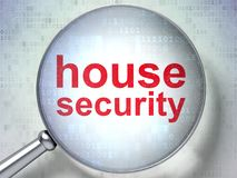 Safety concept: House Security with optical glass. Safety concept: magnifying optical glass with words House Security on digital background, 3D rendering Royalty Free Stock Image