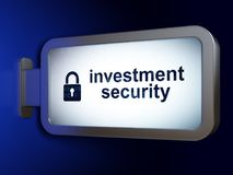 Safety concept: Investment Security and Closed Padlock on billboard background. Safety concept: Investment Security and Closed Padlock on advertising billboard Stock Photography