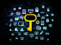 Safety concept: Key on Digital background Stock Image