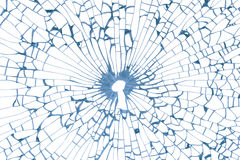 Key hole in broken glass Stock Photography