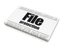 Safety concept: newspaper headline File Protection. On White background, 3D rendering Stock Photo