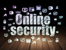 Safety concept: Online Security in grunge dark. Safety concept: Glowing text Online Security,  Hand Drawn Security Icons in grunge dark room with Wooden Floor Stock Images