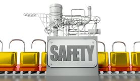 Safety concept, open and closed padlocks. With machine Royalty Free Stock Photo