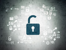 Safety concept: Opened Padlock on Digital Paper Royalty Free Stock Photography