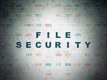 Safety concept: File Security on Digital Data Paper background. Safety concept: Painted blue text File Security on Digital Data Paper background with Binary Code Royalty Free Stock Image