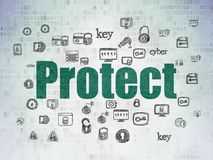 Safety concept: Protect on Digital Data Paper background Royalty Free Stock Images