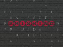 Safety concept: Phishing on wall background. Safety concept: Painted red text Phishing on Black Brick wall background with Hexadecimal Code Stock Image