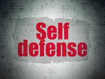 Safety concept: Self Defense on Digital Data Paper background. Safety concept: Painted red text Self Defense on Digital Data Paper background with  Scheme Of Stock Photography