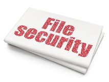 Safety concept: File Security on Blank Newspaper background. Safety concept: Pixelated red text File Security on Blank Newspaper background, 3D rendering Stock Images