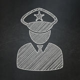 Safety concept: Police on chalkboard background