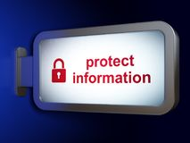 Safety concept: Protect Information and Closed Padlock on billboard background Stock Image