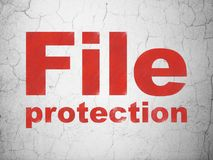 Safety concept: File Protection on wall background. Safety concept: Red File Protection on textured concrete wall background Royalty Free Stock Image
