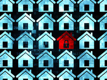 Safety concept: red home icon on Digital. Safety concept: rows of Pixelated blue home icons around red home icon on Digital background, 3d render Stock Image