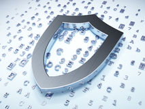 Safety concept: Silver Contoured Shield on digital Royalty Free Stock Image