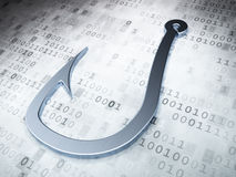 Safety concept: Silver Fishing Hook on digital background Stock Image