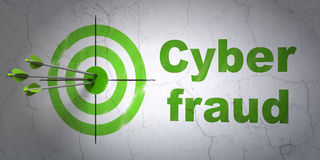Safety concept: target and Cyber Fraud on wall Royalty Free Stock Images