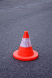 Safety cone. On street, focus on cone stock photography