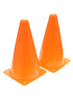 Safety Cones. Two orange safety cones isolated on white background stock photo