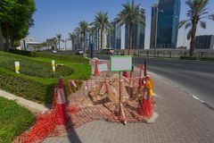 Safety cones in the Dubai city. For construction stock photo
