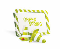Safety cones with spring banner Royalty Free Stock Images