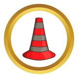 Safety cones vector icon. In golden circle, cartoon style isolated on white background Stock Image