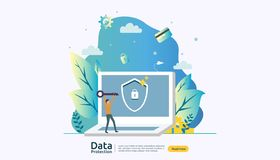 Safety and confidential data protection. VPN internet network security. Traffic encryption personal privacy concept with people royalty free illustration