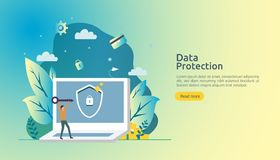 Safety and confidential data protection. VPN internet network security. Traffic encryption personal privacy concept with people. Character. web landing page vector illustration