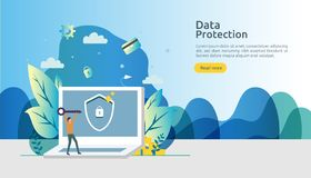 Safety and confidential data protection. VPN internet network security. Traffic encryption personal privacy concept with people. Character. web landing page stock illustration