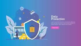 Safety and confidential data protection. VPN internet network security. Traffic encryption personal privacy concept with people. Character. web landing page royalty free illustration