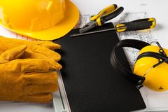 Safety. Construction Occupation Electricity Accident Instruction Manual Handbook stock image