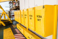 Safety-contained breathing air. Keep in yellow box royalty free stock image