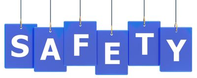 Safety tag banner. Safety 3d rendered blue tag banner , isolated on white background Royalty Free Stock Photos